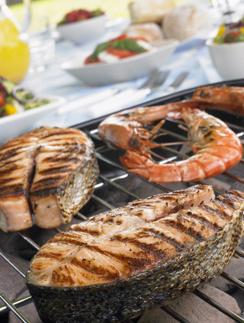 лосось, семга, гриль, пикник, мангал, рыба