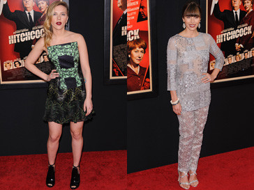 """Скарлетт Йоханссон (Scarlett Johansson) и Джессика Бил (Jessica Biel) на премьере фильма """"Хичкок"""" в Нью-Йорке"""