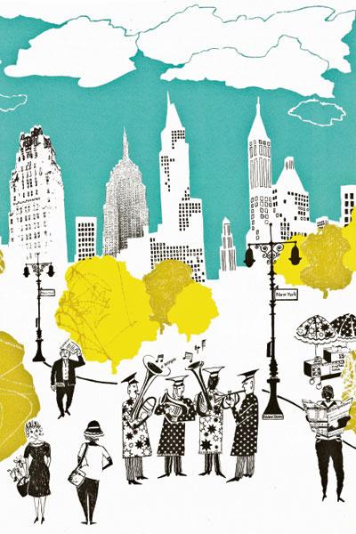 Коллекцию Jazz in Central Park англичанка Лиззи Аллен посвятила улицам Нью-Йорка. Обои, ручная печать, Lizzie Allen, www.lizzieallen.co.uk.