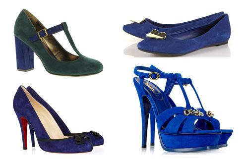 Снизу вверх по часовой стрелке: туфли Christian Louboutin, двуцветные туфли Asos, балетки TopShop, туфли на платформе Yves Saint Laurent