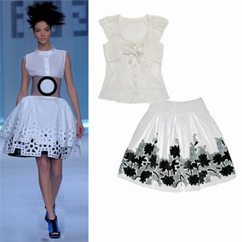Модель с показа Fendi и вещи из коллекции Lo (блузка – 2 790 руб, юбка – 2 990 руб)