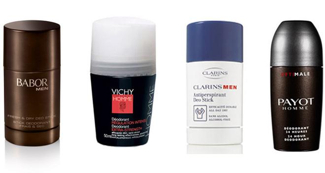 Део-стик, Fresh-Up Deo-Stick, Babor Men. Регулирует потоотделение. Надежно и надолго защищает от возникновения неприятного запаха. Не содержит спирта. Для энергичного старта утром; Дезодорант против избыточного потоотделения экстрасильного действия, Vichy Homme. Эффективно защищает от запаха пота в течение 48 часов; Дезодорант-антиперспирант роликовый Clarins Men. Эффективный и стойкий дезодорант-антиперспирант длительного действия. Не содержит спирта. Нейтрализует запахи и регулирует потоотделение. Дарит ощущение свежести и сухости. Не прилипает к одежде; Роликовый дезодорант-антиперспирант для мужчин, Payot. Защищает от появления неприятного запаха пота даже при интенсивных физических нагрузках. Дезодорант не содержит спирта, идеально подходит для всех типов кожи, не вызывает раздражения и ощущения дискомфорта.