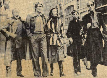 Диана фон Фюрстенберг с Ив Сен-Лораном, Пьером Берже и Бьянкой Джаггер.