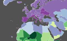 Карта: уровень рождаемости в странах мира