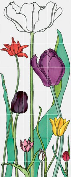 Плитка Tulipani, дизайн художника Рональда ван дер Хильста для Ceramica Bardelli, салон Studio-Line, бутики RIM.ru.