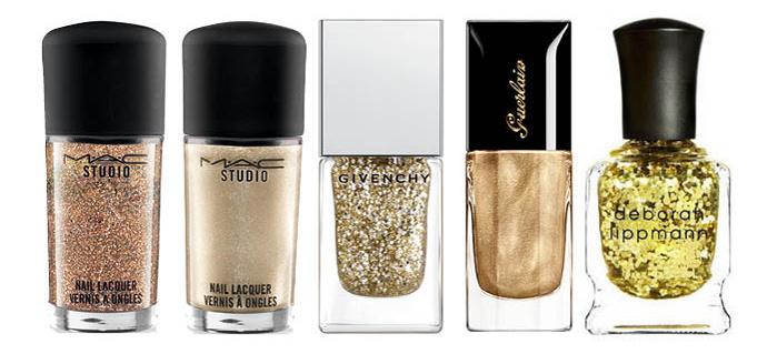 золотые оттенки лака для ногтей