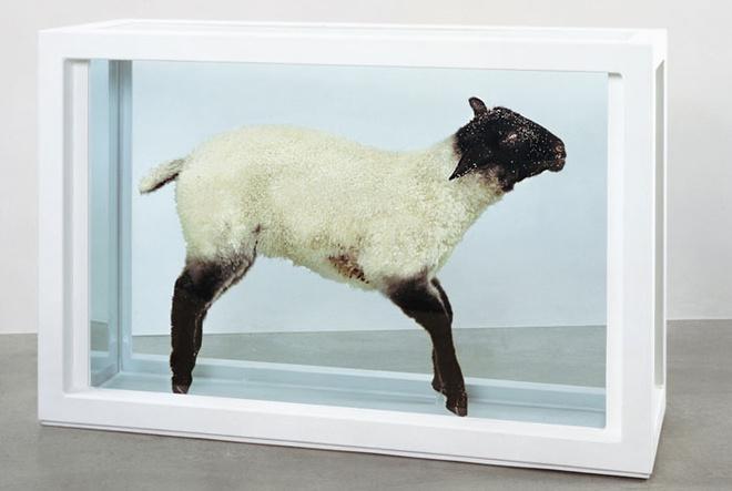 Овцу под названием «Отбилась от стада» однажды испортили: на выставке в 1994-м Марк Бриджер влил в аквариум черные чернила и переименовал объект в «Паршивую овцу».