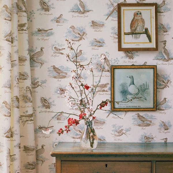 Хлопок и обои из коллекции Bewick Birds, Lewis & Wood, салон DeLuxe Home Creation, студия «Артвилль».