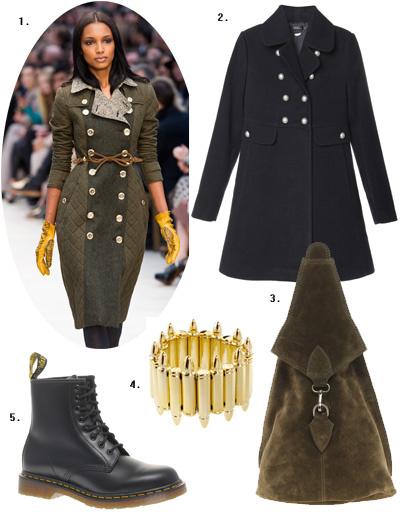 1. Burberry Prorsum; 2. пальто Kira Plastinina; 3. рюкзак Asos; 4. браслет Asos; 5. Dr. Martens