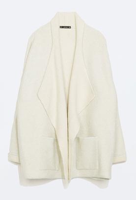 Пальто объемное с широкими лацканами, zara