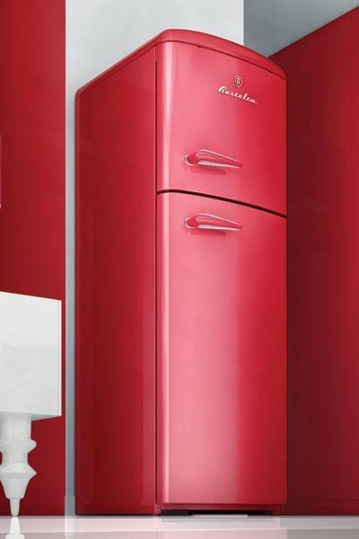 Элегантный холодильник с верхней морозильной камерой, модель RT291 (Rosenlew). Изготавливается под заказ в цвет «феррари». Цена от 100 000 до 120 000 руб. в зависимости от комплектации.
