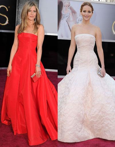 """Дженнифер Энистон (Jennifer Aniston) и Дженнифер Лоуренс (Jennifer Lawrence) на """"Оскаре""""-2013"""