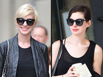 Энн Хэтэуэй (Anne Hathaway) снова стала брюнеткой