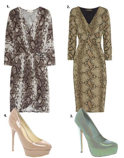 1. Платье Michael Kors; 2. платье Roberto Cavalli; 3. туфли Asos; 4. туфли Aldo