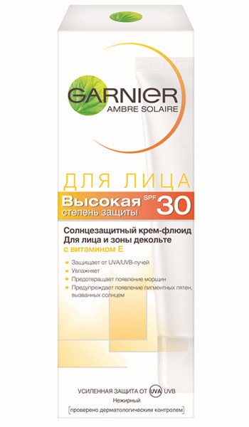 Garnier, Ambre Solaire Крем солнцезащитный для лица SPF30