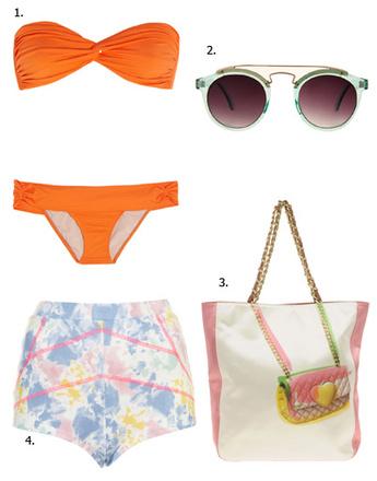 1. Купальник Tara Matthews; 2. очки Asos; 3. сумка Moschino Cheap & Chic; 4. шорты Topshop
