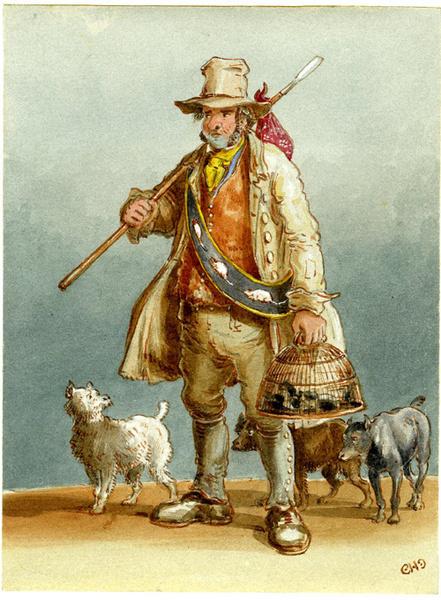 На длинных шестах странники носили связки крысиных трупов, которые подлежали сожжению. На лотках, напоминающих подносы, у крысоловов лежали ловушки и яды.