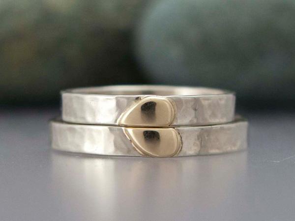 Обручальные кольца из белого и желтого золота, $625