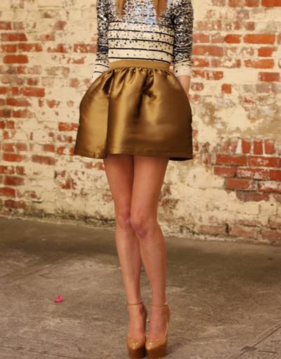 Мини-юбка из золотистой ткани