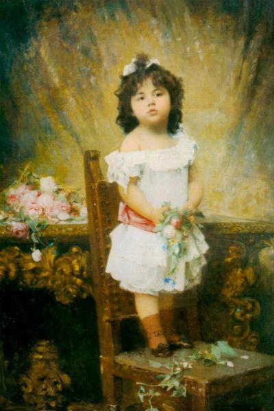 Алексей Харламов, «Девочка с цветами» (1890 г.)