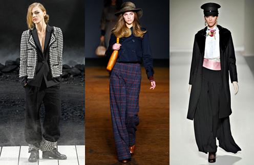 Широкие брюки от Marc by Marc Jacobs украсят любую фигуру, а вот с творением от Chanel подружится не каждая
