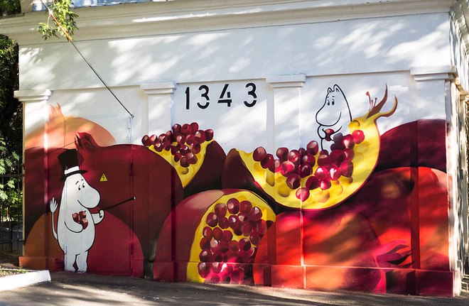 Картина «Муми-тролли на гранате», фестиваль «Стенограффия», фото