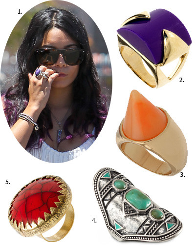 1. Ванесса Хадженс (Vanessa Hudgens); 2. кольцо French Connection; 3. кольцо Topshop; 4. кольцо H&M; 5. кольцо River Island