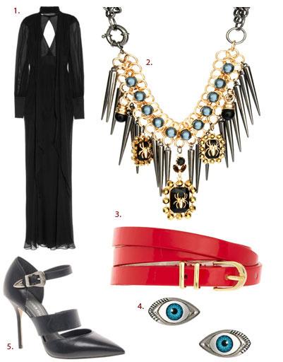 1. Платье Skaist Taylor; 2. ожерелье Asos; 3. ремень Asos; 4. серьги Asos; 5. туфли River Island