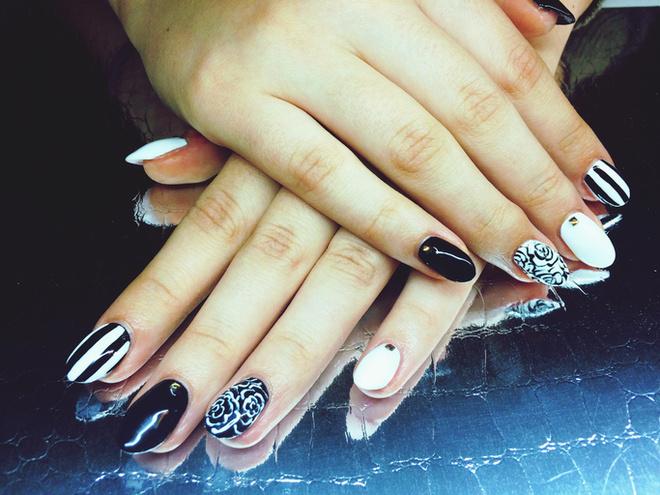 Маникюр шеллак на короткие ногти с рисунком