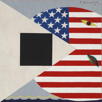 Павел Пепперштейн «Американский кит и черный квадрат» (2008).