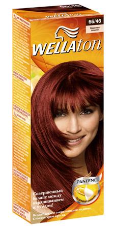 Крем-краска Wellaton, оттенок «Красная вишня» с восстанавливающей сывороткой Color Therapy. Придает волосам яркий цвет и здоровый вид.