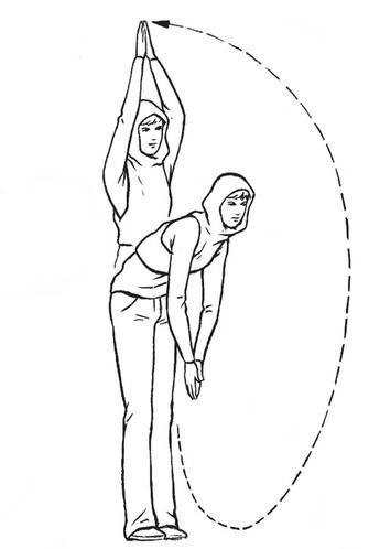 Направьте сложенные ладони пальцами в пол. Наклонитесь вперед, тянитесь корпусом и руками к ступням. Распрямитесь, рисуя перед собой большой круг вытянутыми руками – до тех пор, пока они не окажутся над головой. Сгибайте руки в локтях, опуская их перед лицом до уровня груди. А теперь повторите всю серию движений… 20 раз!
