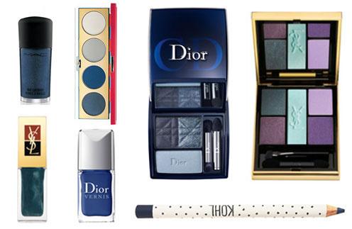 По часовой стрелке: лак для ногтей Mac; палетка теней Wonderful Woman, Mac; палетка теней 3 Couleurs Smoky, Dior; палетка теней Ombres 5 Lumieres, Yves Saint Laurent; синий карандаш для глаз, TopShop; лак для ногтей Blue Denim, Dior; лак для ногтей Yves Saint Laurent
