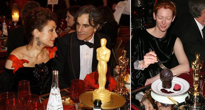 Даниэль Дэй-Льюис с супругой и Тильда Свинтон с десертом