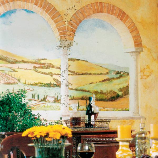 Производитель предусмотрел для сюжета Tuscan view изколлекции Mural Portfolio (Three sisters studio дляYork Wallcoverings) дватипоразмера: 3,206× 2,74 м (7панелей) и 4,58× ×2,74м (10 панелей). От 10 800 руб.