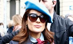 Сальма Хайек удивила нарядом на Неделе моды в Милане
