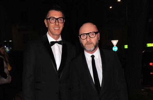 Дольче (Domenico Dolce) и Стефано Габбана (Stefano Gabbana) на Неделе моды в Милане