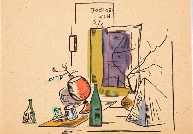 Натюрморт с бутылкой, Жолткевич Л.А. Гравюра с раскраской, 1923 год