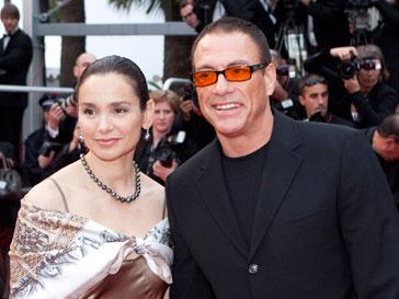 Жан-Клодт Ван Дамм со своей супругой на Каннском фестивале