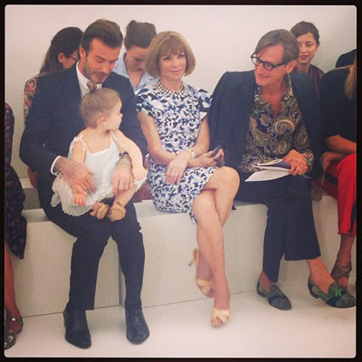 Дэвид Бекхэм с дочерью Харпер и Анной Винтур