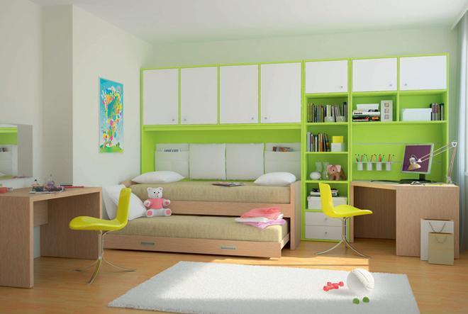 Используя композиции производителя или же свои собственные идеи, набор предметов мебели, необходимый длякомфортного обитания и учебы двух детей, можно расположить даже на незначительной площади. Комната на базе серии Pinokkio («Костромамебель»). 61470 руб./композиция