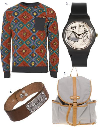 1. Свитер Topshop; 2. часы MAY 28TH; 3. рюкзак Asos; 4. кожаный браслет Diesel