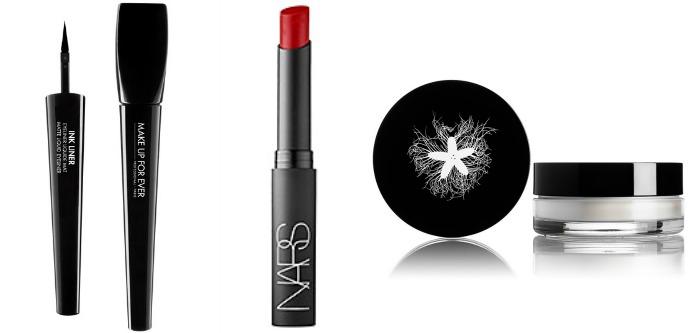 Подводка Make Up For Ever Ink Liner, оттенок 1 Matte Black, помада NARS Pure Matte Lipstick, оттенок Vesuvio, прозрачная рассыпчатая пудра Rouge Bunny Rouge Diaphanous