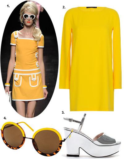 1. Moschino весна-лето 2013; 2. платье Zara; 3. туфли Zara; 4. очки H&M