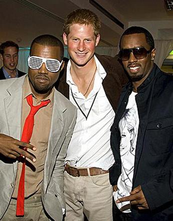 Принц Гарри (Prince Harry), Канье Уэст (Kanye West) и Пи Дидди (P.Diddy)