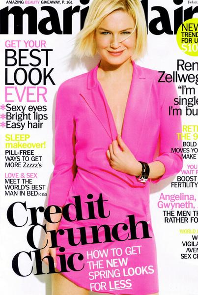 Рене Зельвегер на обложке февральского Marie Claire