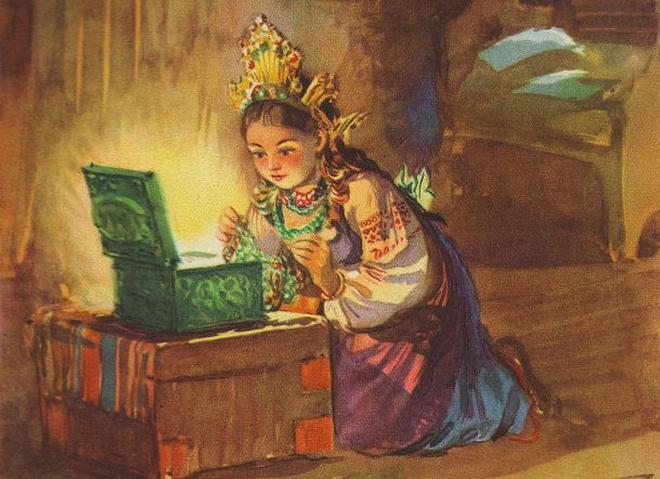 Иллюстрация к сказу Бажова «Малахитовая шкатулка», фото