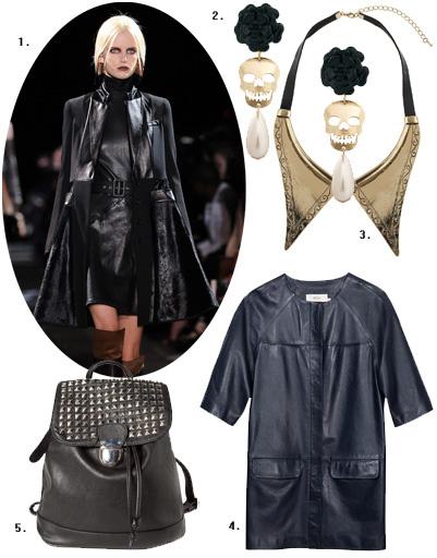1. Givenchy; 2. серьги Asos; 3. воротничок Topshop; 4. платье BGN; 5. рюкзак Pull and Bear