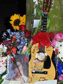 Поклонники Эми Уайнхаус (Amy Winehouse) приносят цветы к ее дому