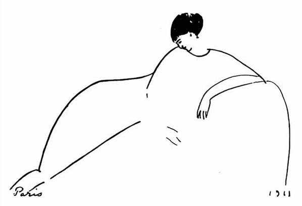 Анна Ахматова на рисунке Модильяни, 1911 год